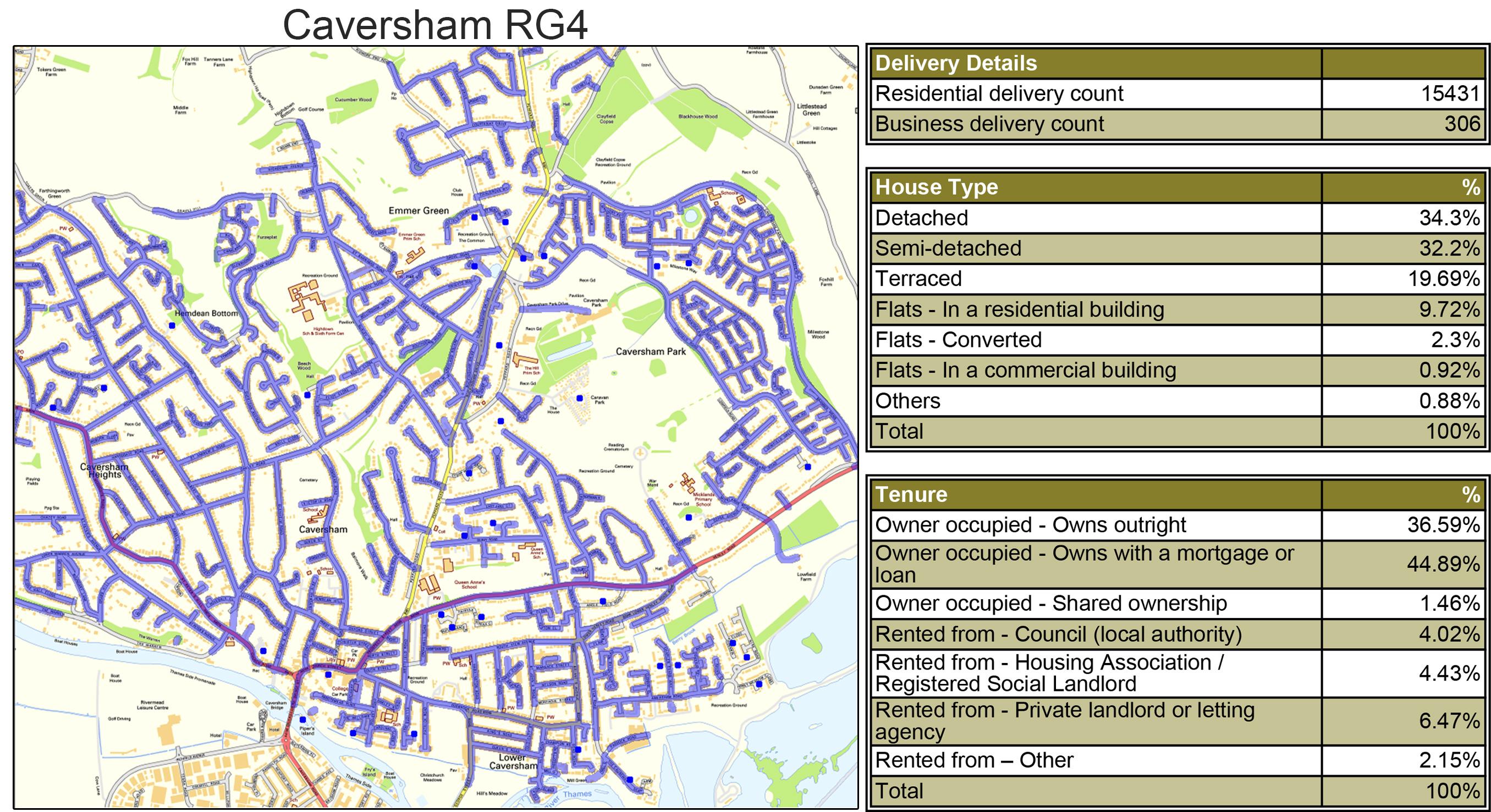 Geoplan image of Leaflet Distribution Caversham