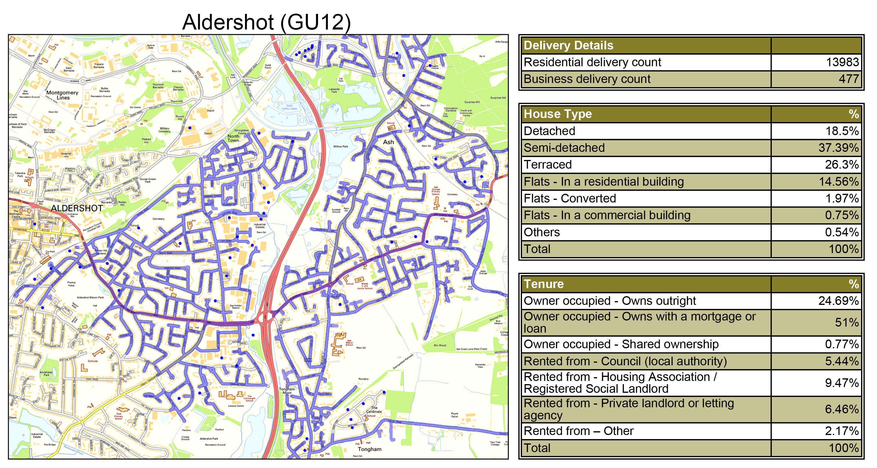 Leaflet Distribution Aldershot - Geoplan Image