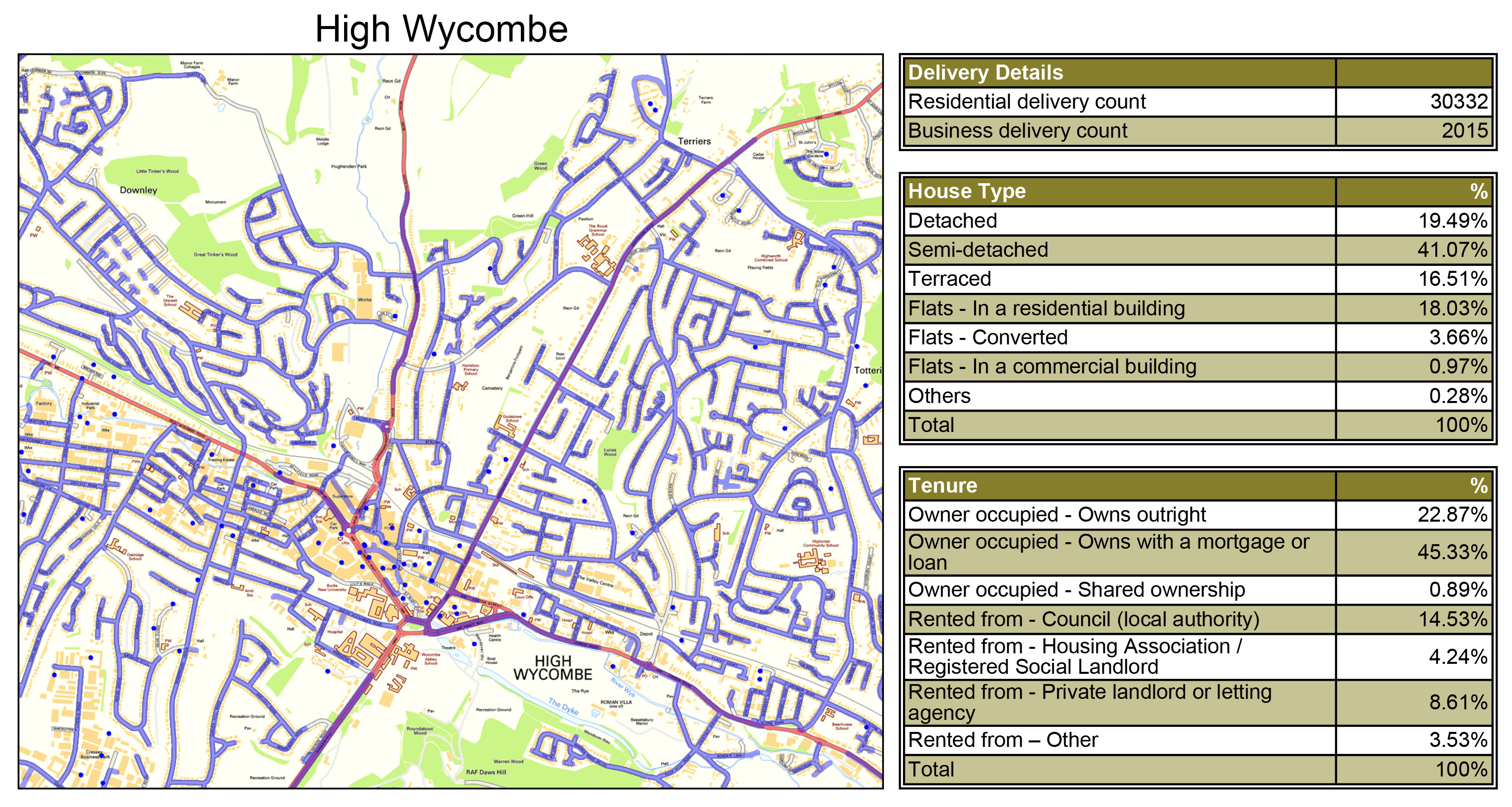 Leaflet Distribution High Wycombe - Geoplan Image