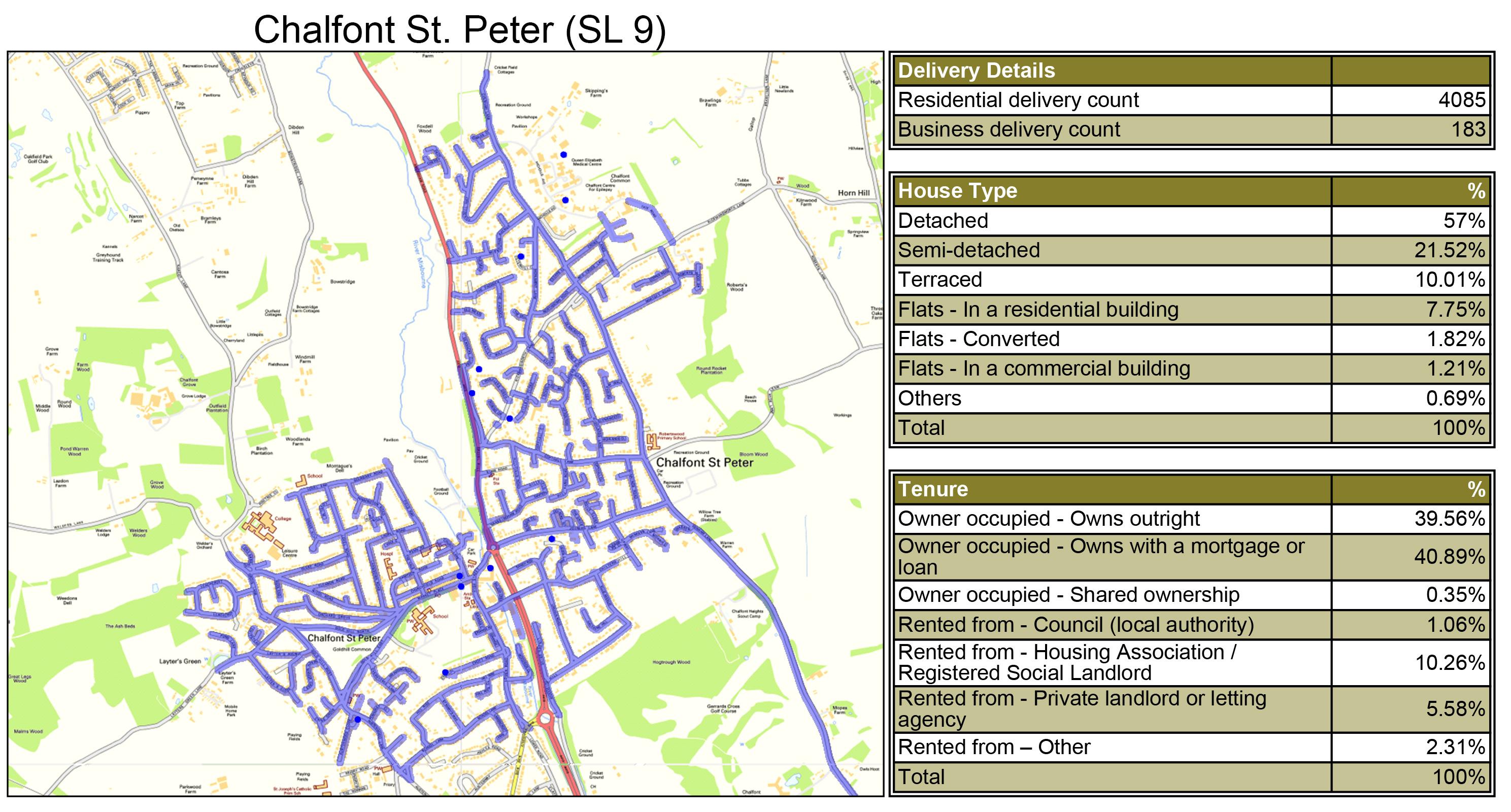 Leaflet Distribution Chalfont St Peter - Geoplan Image