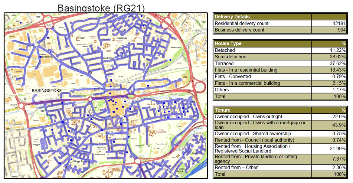 Leaflet Distribution in Hampshire - Geoplan Image