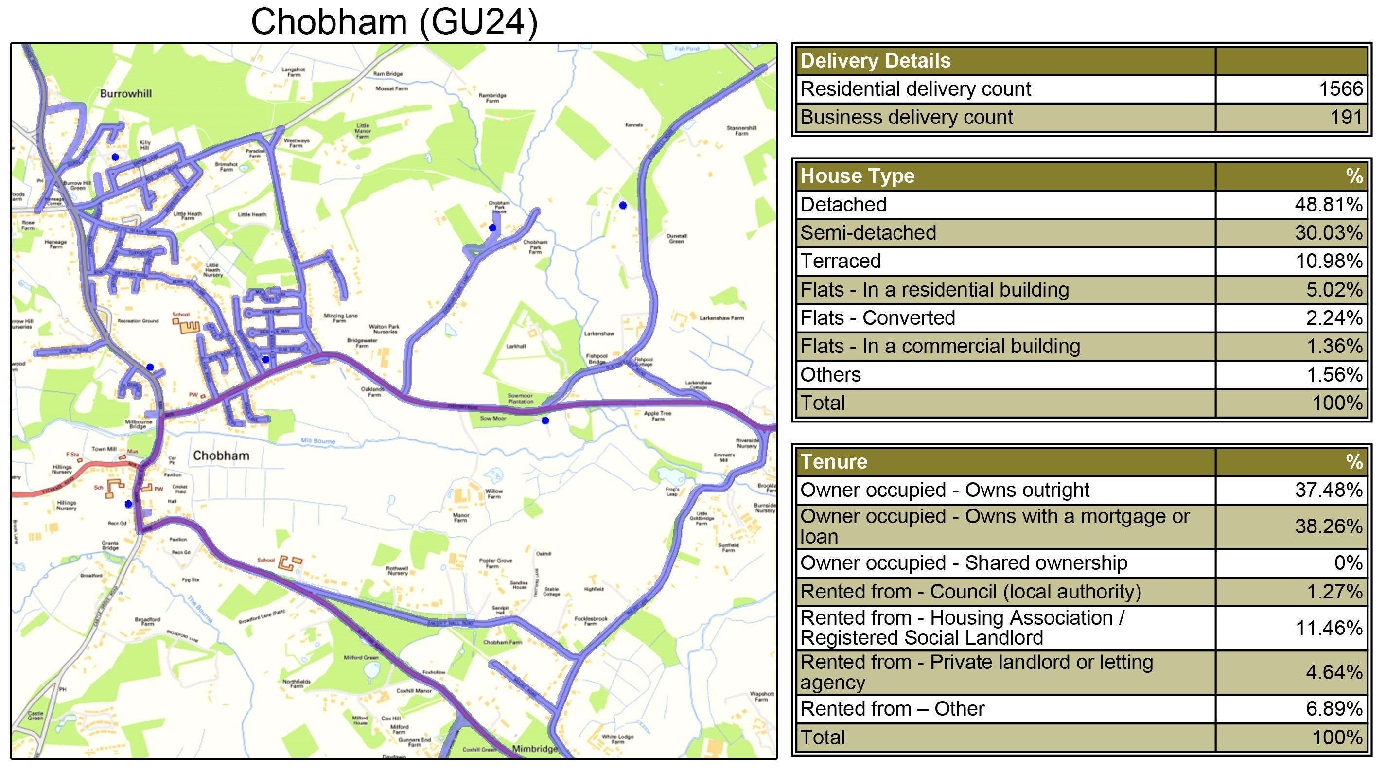 Leaflet Distribution Chobham - Geoplan Image