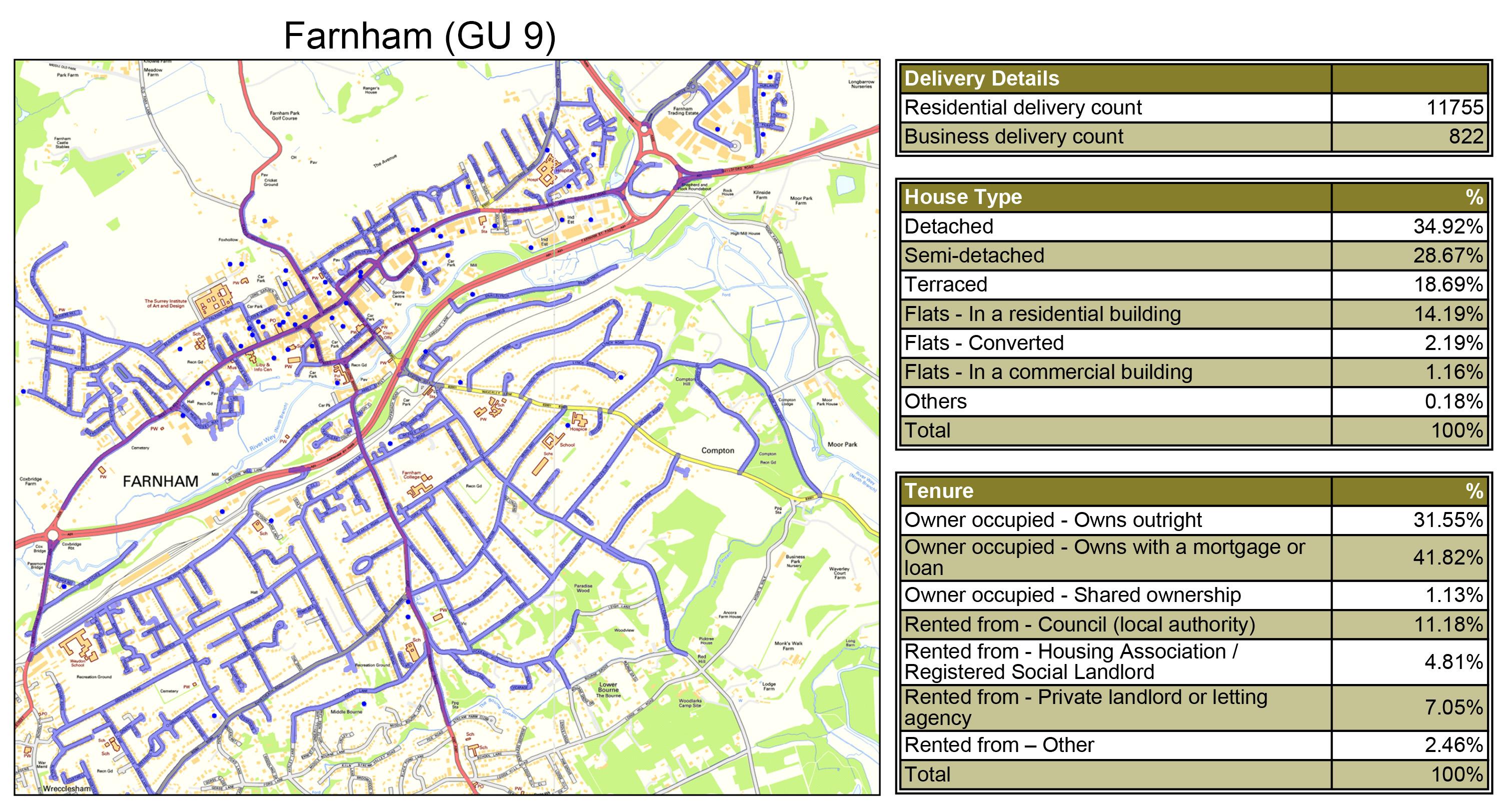 Leaflet Distribution Farnham - Geoplan Image