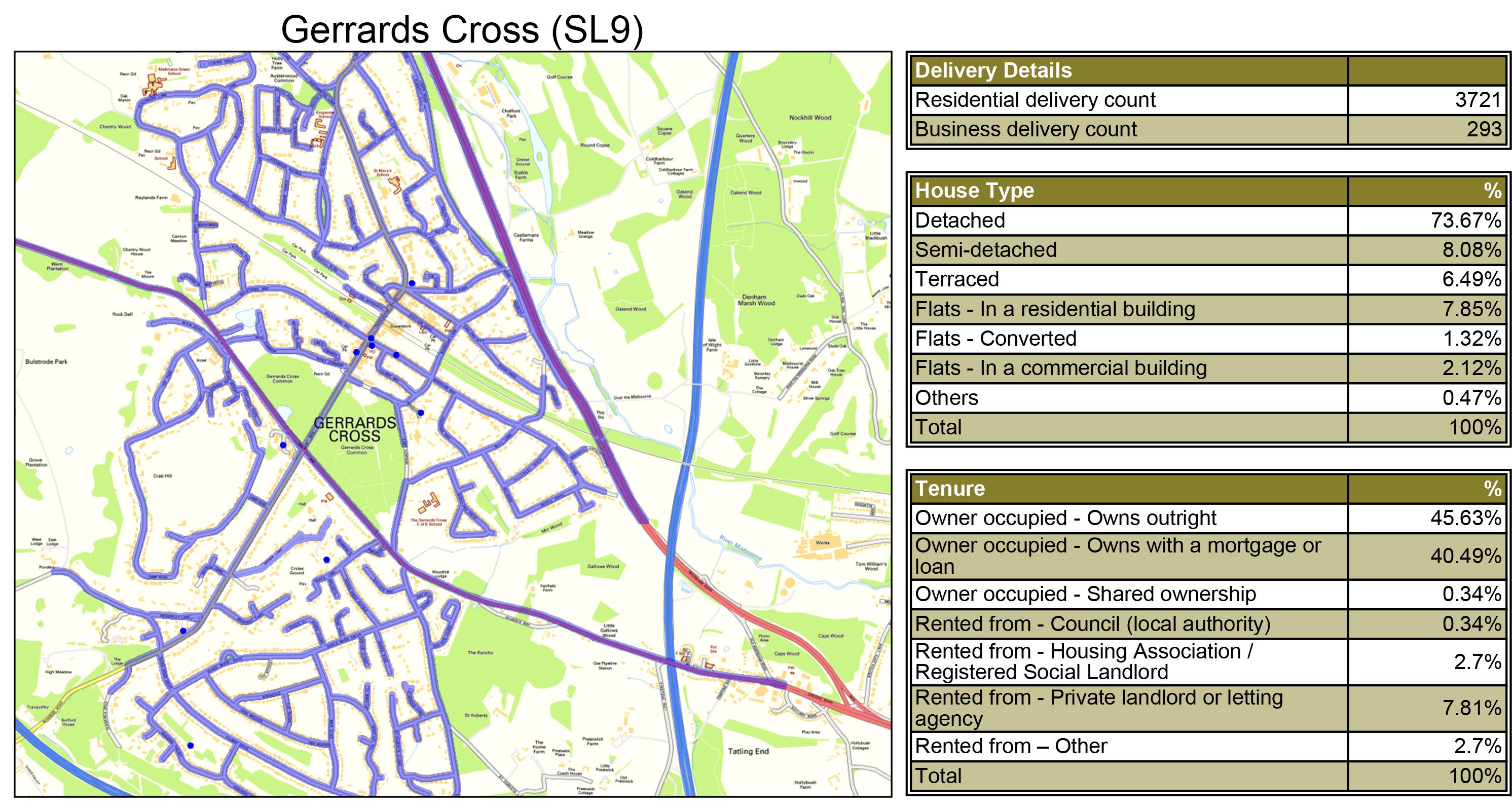Geoplan Image of Leaflet Distribution Gerrards Cross