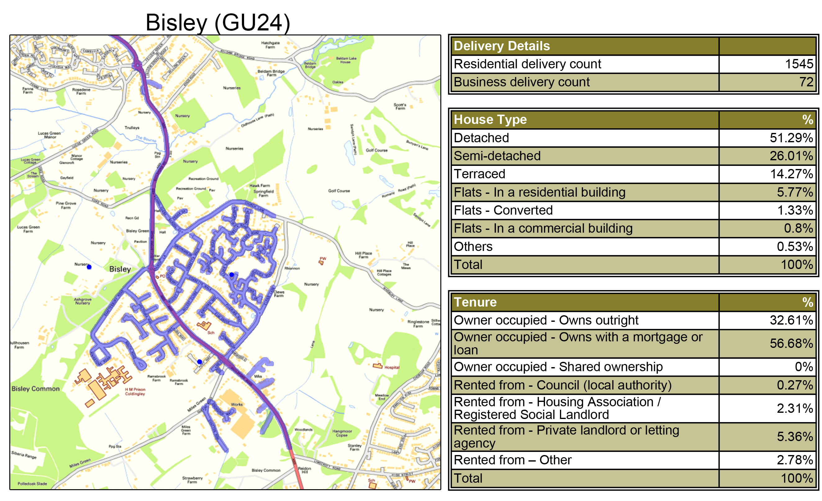 Geoplan Image of Leaflet Distribution Bisley