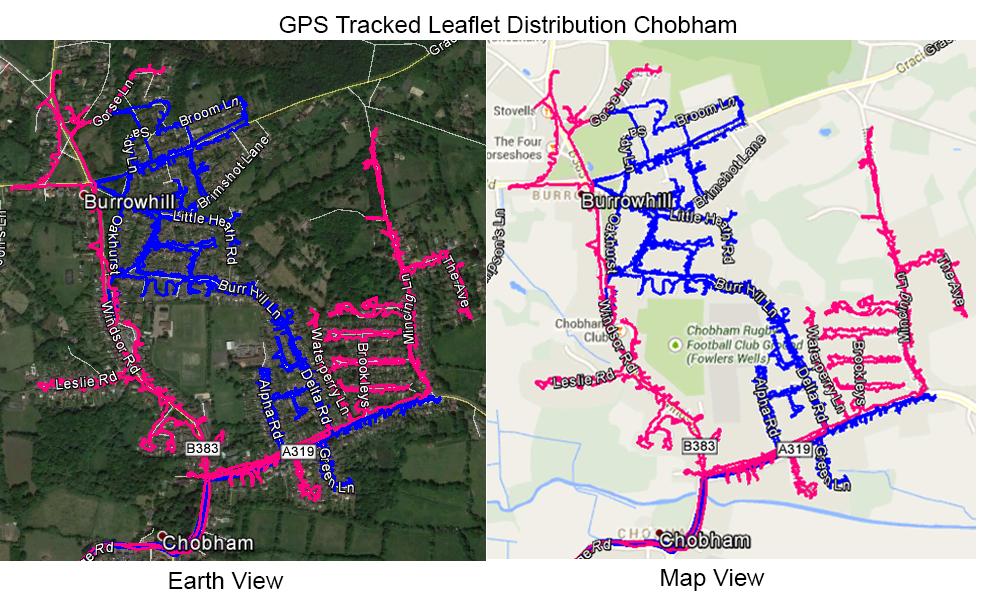 Leaflet Distribution Chobham - GPS Tracked